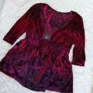 Apt. 9  Velvet Bling 3/4 sleeve Flowy top